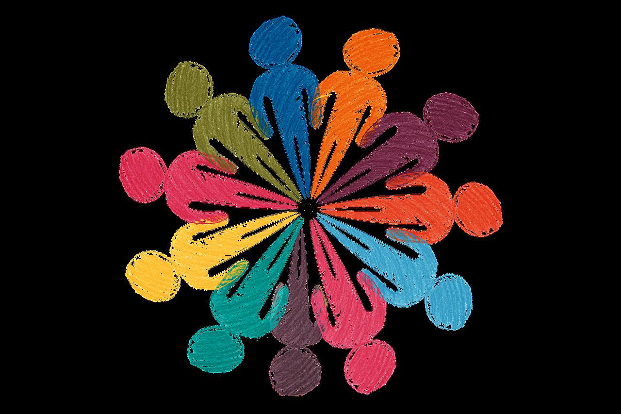 Mehrere Menschen sind als Strichmenschen mit verschiedenen Buntstiftfarben straffere dargestellt und mit den Füßen auf um einen Mittelpunkt gruppiert, sodass eine bunte Menschengruppe entsteht.Dies illustriert das Prinzip der Systemische Aufstellung, die die Struktur von Gruppen oder Problemen visualisiert